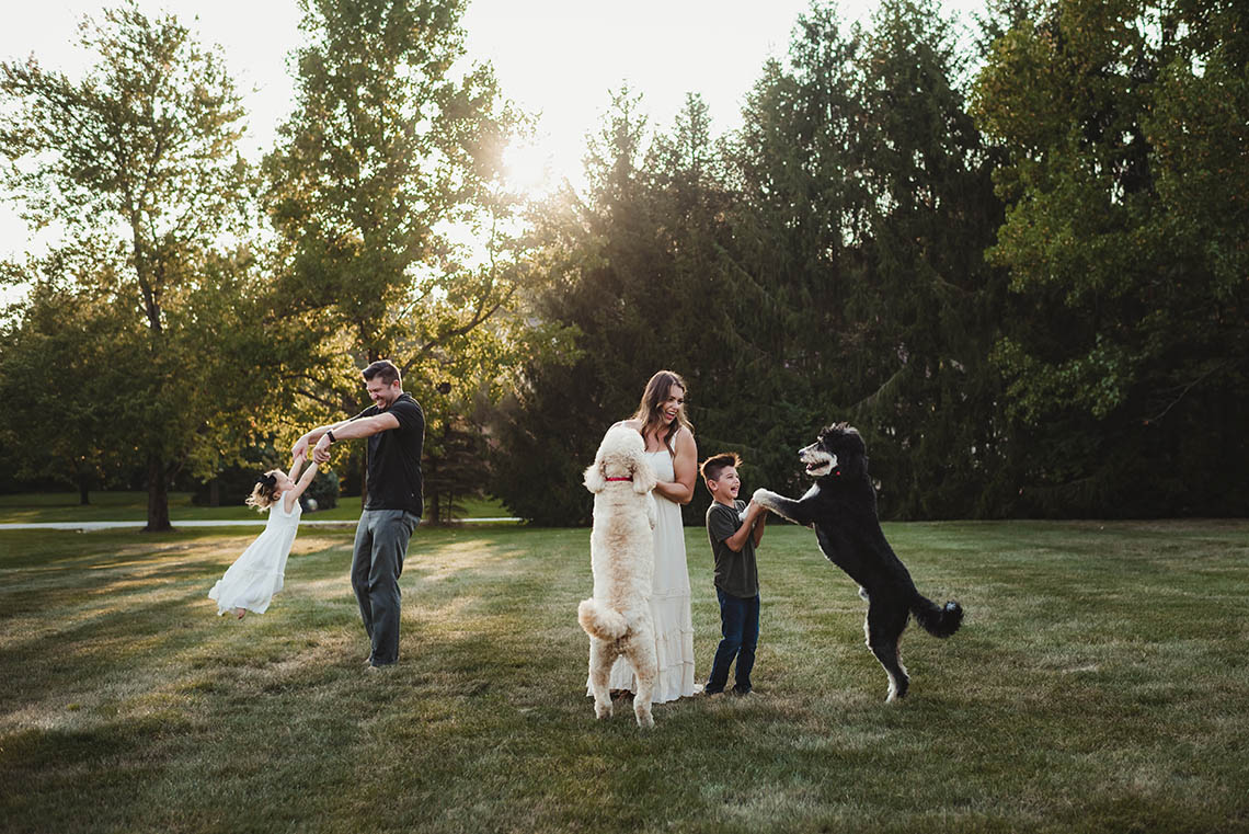 Helms family with dogs.